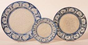 3 Dedham Pottery Plates Rabbit Borders.