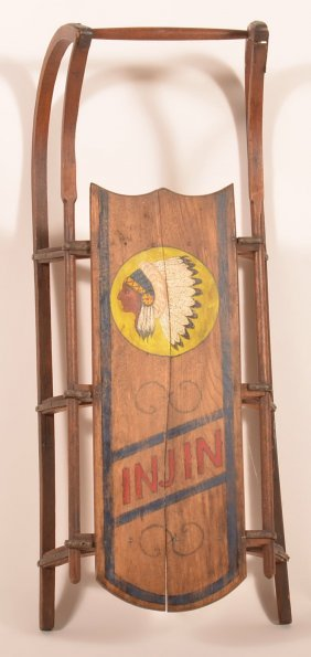 """Antique Wood Child's Sled With """"injin"""" ."""