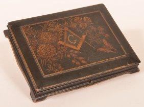 Antique Black Lacquered Masonic Medal Box.