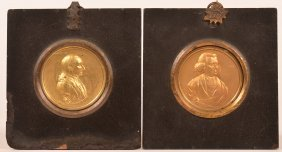 Pair Of Stamped Brass Miniature Portraits.