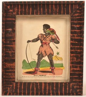 "Early 19th Century Hand Colored Print Titled ""man"