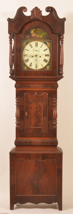 English Federal Mahogany Tall Case Clock.