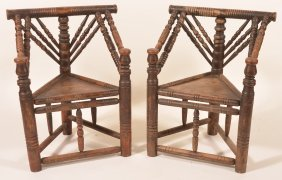 Pair Of Oak 19th Cent. Spool Turned Armchairs.