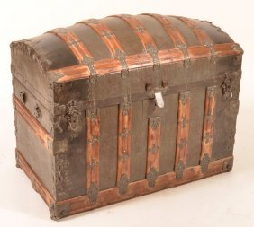Antique Dome Top Steamer Trunk.