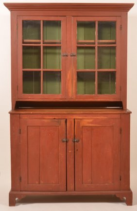 Pa Federal Softwood Two Part Dutch Cupboard.
