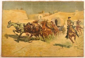 Illustrator Art Oil On Canvas Of A Wagon Train.