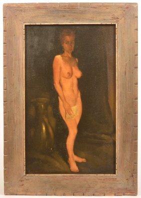 Oil On Canvas Portrait Of A Nude Signed E. Shinn.