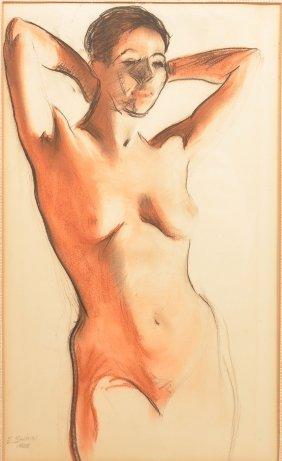 E. Shinn 1928 Watercolor Portrait Of A Nude.
