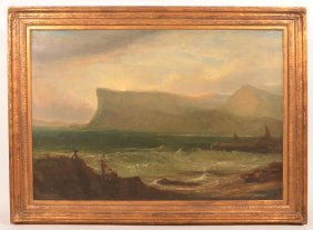Large 19th Century Seascape Oil Painting.