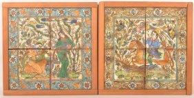 2 Oriental Framed Tile Scenes.