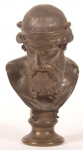 Unsigned Bronze Bust Of A Greek God.