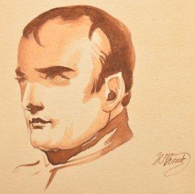 H. Vernet Min. Painting Of Napoleon Bonaparte.