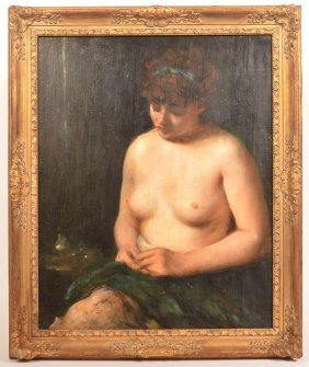 20th Century Oil On Canvas Painting Of A Nude.