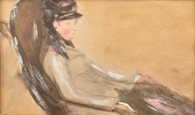Pastel And Watercolor Painting Of A Woman.