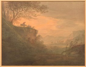 William Payne Watercolor Of A Valley Landscape.