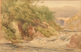 Henry Pope Watercolor Landscape Painting.