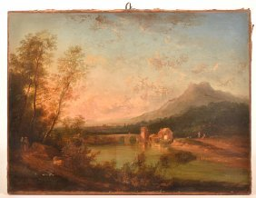 Continental 18th Cent. Oil Landscape Painting.