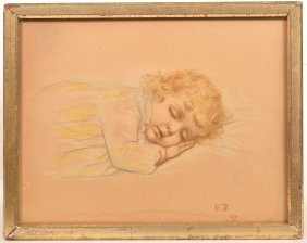 Watercolor & Pastel Painting Of A Sleeping Child.