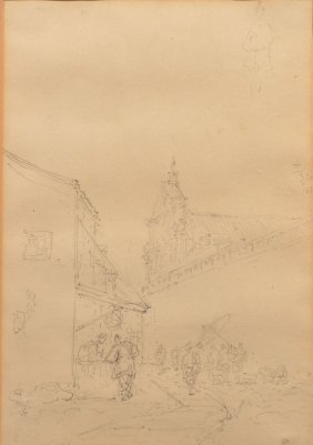 Pencil Drawing Of A Street Scene With Cathedral.