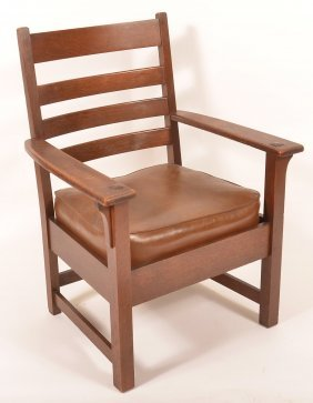 Arts And Crafts Oak Armchair.