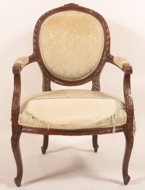French Louis Xv Style Mahogany Armchair.