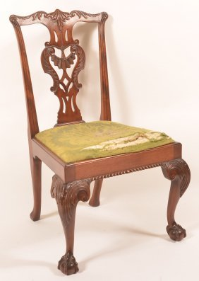 Chippendale Style Mahogany Carved Sidechair.