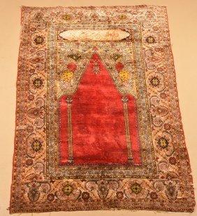 Oriental Signed Silk Prayer Rug.
