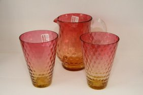 Cranberry Amberina Pitcher And Two Large Glasses