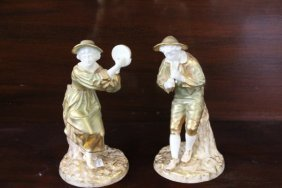Pair Of Royal Worcester Musician Figurines