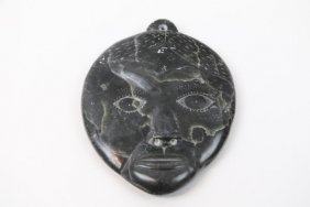 Signed Inuit Stone Carved Plaque Of A Face