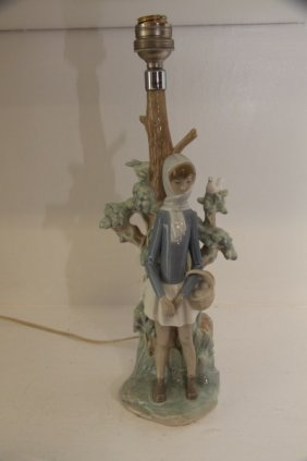 Lladro Lamp - Girl With Basket
