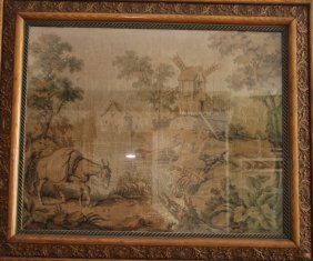 19th Century Tapestry Of Windmill And Animals