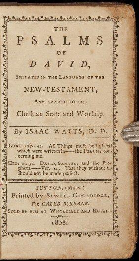 Watts Psalms Of David Sutton, Mass. 1808