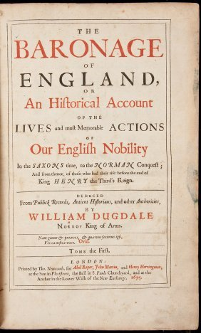 Baronage Of England By Wm Dugdale 1675-76