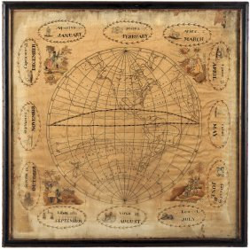 Embroidered Map Of Western Hemisphere With Zodiac Signs