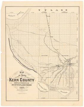 Map Of Kern County California 1877