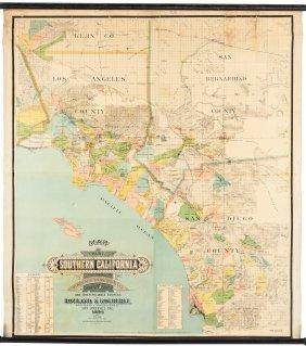 Rare Wall Map Of Southern California 1886