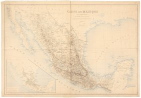 French Map Of Mexico 1873