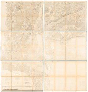 Rare Chart Of Ny Harbor On 6 Sheets 1844