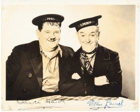 "Laurel And Hardy Signed Photograph ""our Relations"""