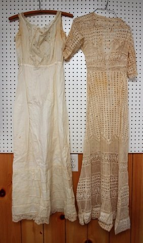 Vintage clothing lot of ladies lace wedding dress and