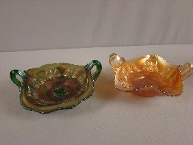 Fenton Carnival Glass Green And Marigold Pair Of
