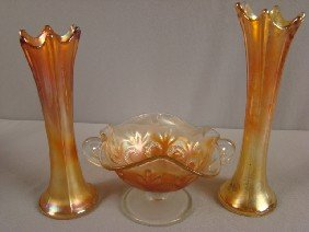 Carnival Glass Group - 2 Dugan Marigold 1013 Vase