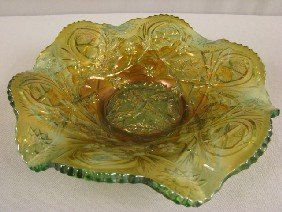 Millersburg Green Carnival Glass Holly Whirl Bowl