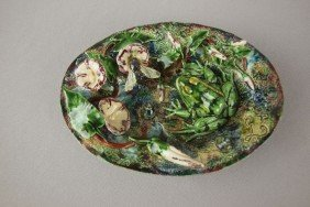 GEOFFREY LUFF Contemporary  Majolica Small Oval Tr