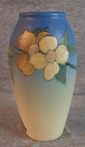 Weller Hudson Art Pottery Vase Blue With Floral Mo