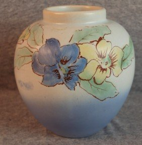Weller Hudson Blue Art Pottery Vase With Floral Mo