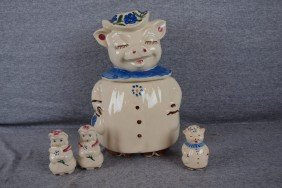 Shawnee Winnie Pig Cookie Jar With Blue Collar AND