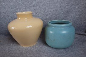 """Rookwood Lot Of 2 Flower Pots - 5"""" Tan 1932 6318C A"""