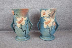 """Roseville Blue Magnolia Pair Of Vases, 89-7"""""""